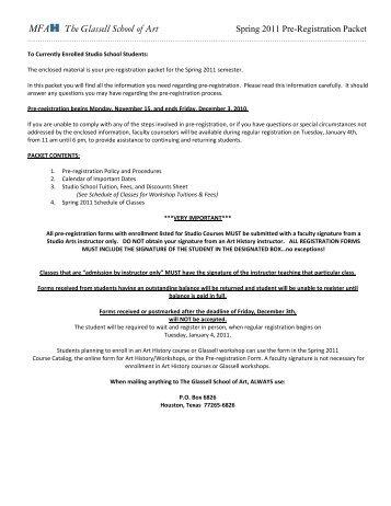 Spring 2011 Pre-registration Packet