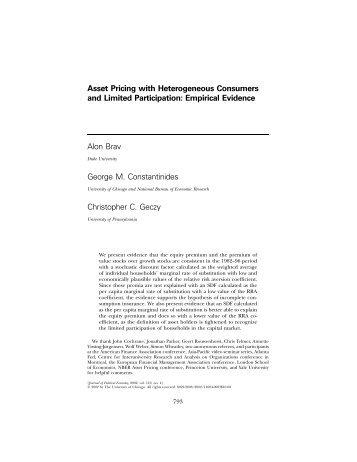 Asset Pricing with Heterogeneous Consumers and Limited ...