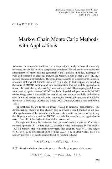 Markov Chain Monte Carlo Methods with Applications