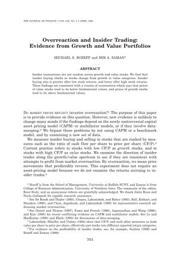 Overreaction and Insider Trading: Evidence from Growth and Value ...