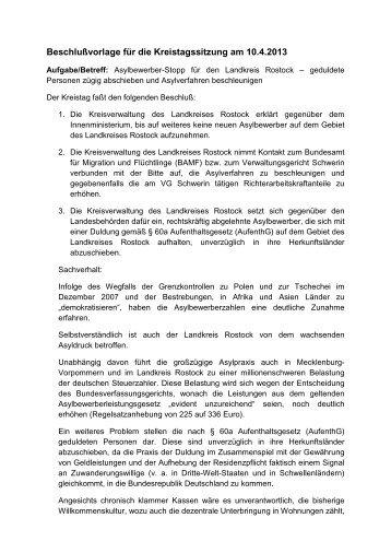 Beschlußvorlage für die Kreistagssitzung am 10.4.2013 - NPD ...