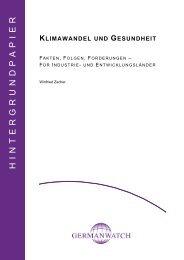 Hintergrundpapier: Klimawandel und Gesundheit ... - Germanwatch