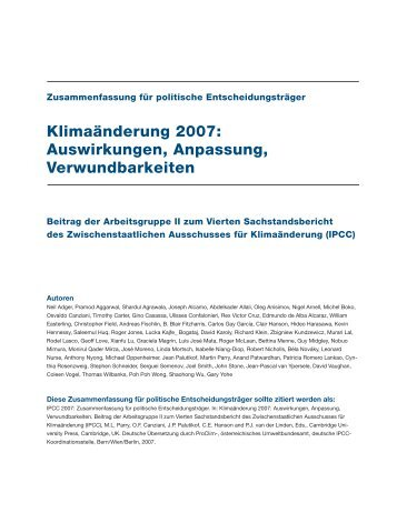 Auswirkungen, Anpassung, Verwundbarkeiten - IPCC