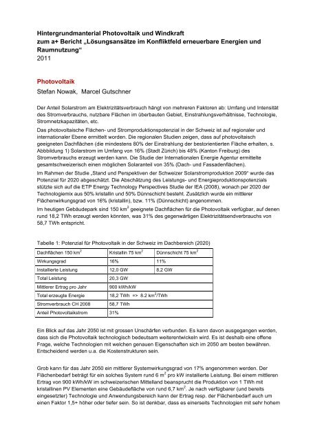 Szenarien der Energieversorgung - Hintergrundmaterial