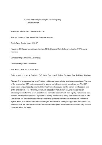 Elsevier Editorial System(tm) for Neurocomputing Manuscript Draft ...