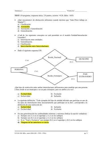 TEST (10 preguntas, respuesta única, 2.0 puntos, aciertos +0.20 ...