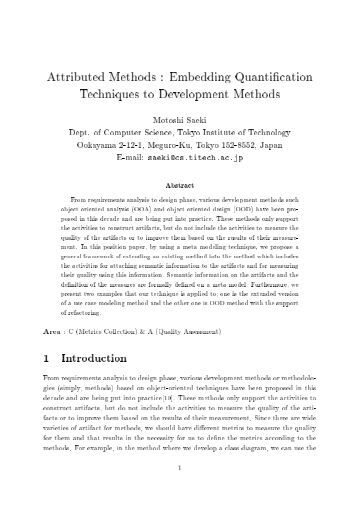 Embedding Quantification Techniques to Development Methods