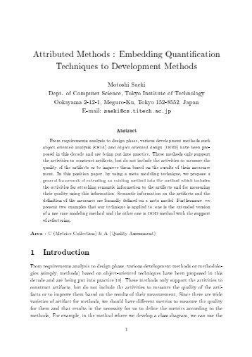 Embedding Quantification Techniques to Development Methods