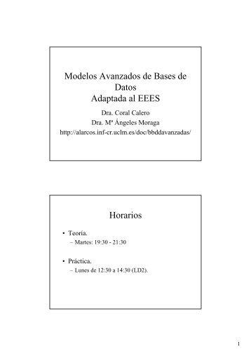 Modelos Avanzados de Bases de Datos Adaptada ... - Grupo Alarcos