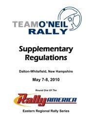 2010 Team O'Neil Rally Supplementary Regulations - New England ...