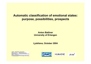 Automatic classification of emotional states: purpose, possibilities ...