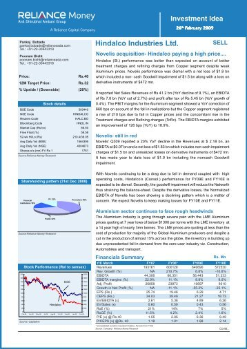 Hindalco Industries Ltd.- Investment Idea.pmd - Reliance Securities