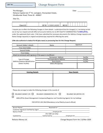 Change Request Form Reliance Securities Change Request Form Change