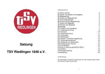 Satzung TSV Riedlingen 1848 e.V.
