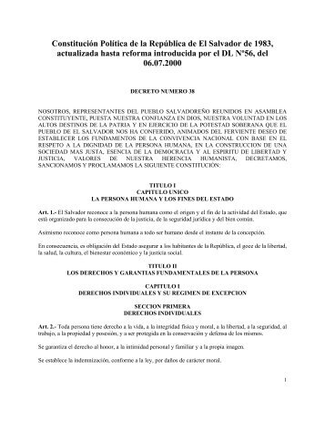 Constitución Política de la República de el Salvador (1983)