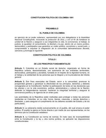 CONSTITUCION POLITICA DE COLOMBIA 1991 PREAMBULO EL ...