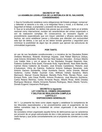 DECRETO Nº 190 LA ASAMBLEA LEGISLATIVA DE LA ...