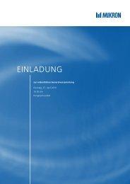 Einladung Generalversammlung 2010 - Mikron