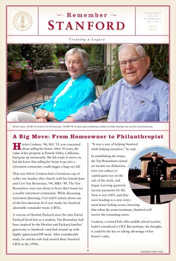 A Big Move: From Homeowner to Philanthropist - Giving to Stanford ...