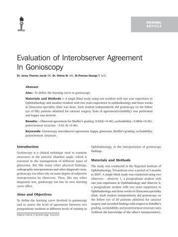 Evaluation Of Interobserver Agreement In Gonioscopy Ksos