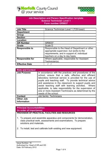 Job Description and Person Specification template Science ...