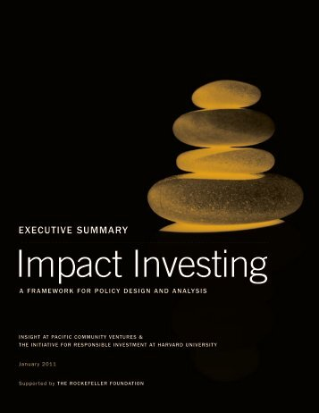 IMPACT INVESTING: A Framework for Policy Design and Analysis