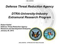 Defense Threat Reduction Agency DTRA-University-Industry ...