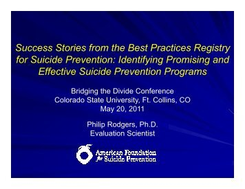 Success Stories from the Best Practices Registry for Suicide ...