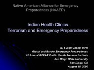 Indian Health Clinics Terrorism and Emergency Preparedness