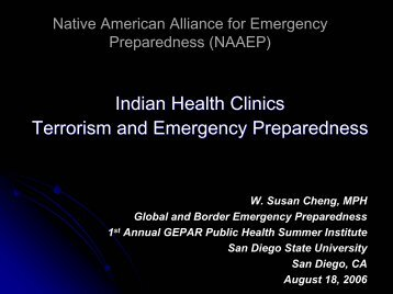 Indian Health Clinics Terrorism and Emergency Preparedness