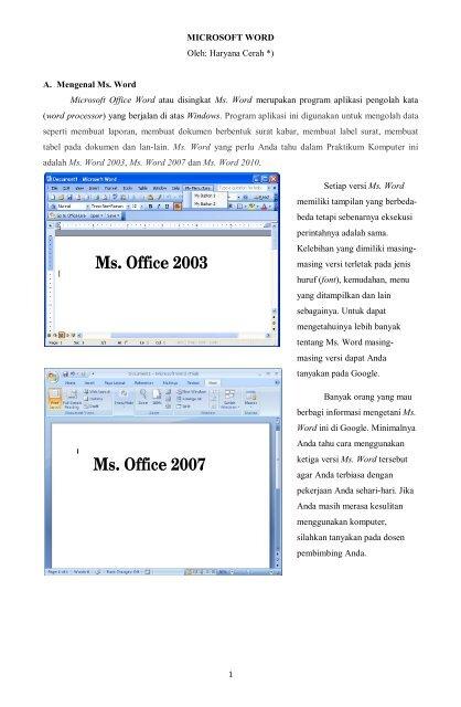Ms Office 2003 Ms Office 2007