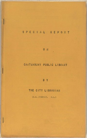 Special report on the Canterbury Public Library - Christchurch City ...