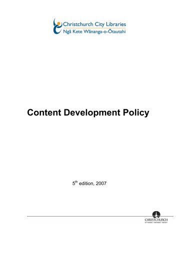 Content Development Policy - Christchurch City Libraries