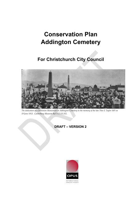 Conservation Plan Addington Cemetery - Christchurch City Libraries