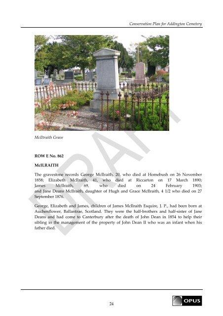 Conservation Plan Addington Cemetery - Christchurch City Libraries