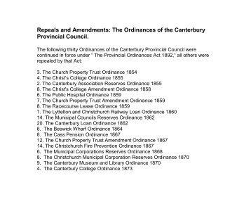 Repeals and amendments - Christchurch City Libraries