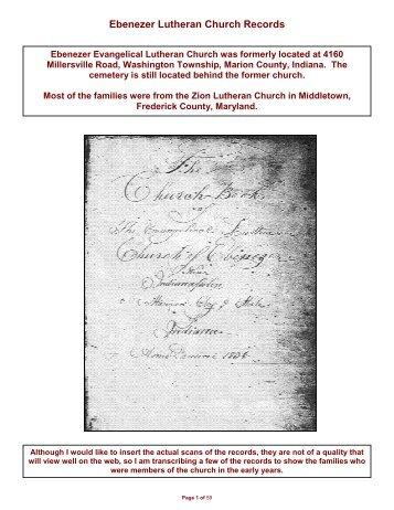 Ebenezer Church Records - Freepages