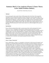 Summary Brief A Case Analysis of Porter's Cluster Theory in the ...