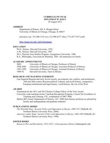 curriculum vitae - History - University of Illinois at Chicago
