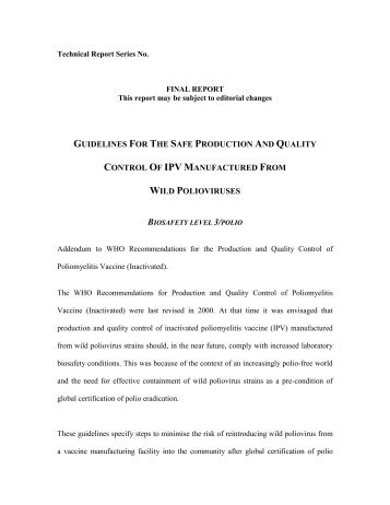 IPV BSL-3/polio containment guidelines (Feb 2003) - World Health ...