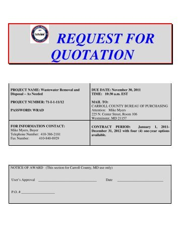 REQUEST FOR QUOTATION - Carroll County Government