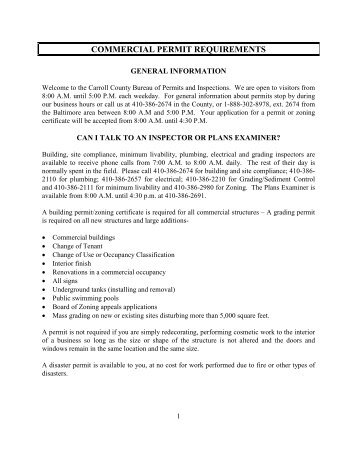 commercial permit requirements - Carroll County Government
