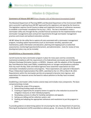 Advisory Group Mission & Objectives - Carroll County Government