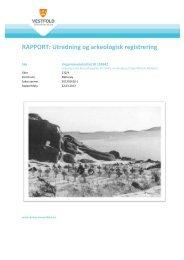 RAPPORT: Utredning og arkeologisk registrering - Kulturarv