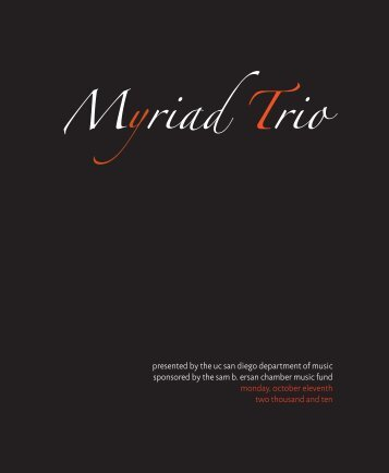 Myriad Trio - Department of Music - UC San Diego
