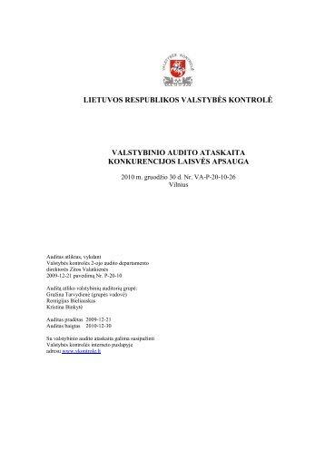 """Valstybinio audito ataskaita """"Konkurencijos laisvės apsauga"""" - LR ..."""