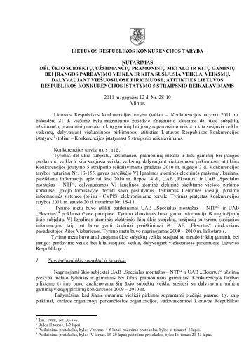 lietuvos respublikos konkurencijos taryba - LR Konkurencijos taryba