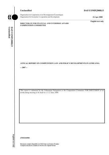 Unclassified DAF/COMP(2008)13 DAF/COMP(2008)