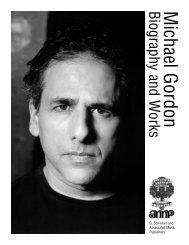Michael GordonBiography and W orks - G. Schirmer, Inc.
