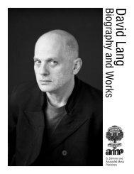 David LangBiography and W orks - G. Schirmer, Inc.